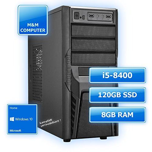 M&M Computer Dresden Intel Home & Office-PC , Intel Core i5-8400 (Sixcore/Hexacore), 120GB SSD , 8GB DDR4 RAM 2400MHz, Gigabyte Mainboard, DVD-Brenner, MTEC-Miditower, Windows 10 Home vorinstalliert inkl. Treiber, Preishit, Multimedia Desktop PC, Bestseller