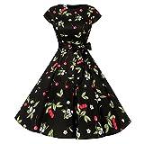 Damen 1950er Vintage Cocktailkleid Rockabilly Retro Schwingen Kleid Faltenrock Frauen Vintage Floral Bodycon Kurzarm Casual Abend Party Prom Schaukel Kleid