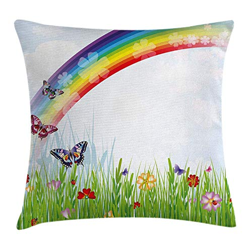 Rainbow Throw Pillow Cushion Cover, Springtime Meadow Colorful Butterflies Grass Daisy Silhouettes Playroom Design, Decorative Square Accent Pillow Case, 26 X 26 Inches, Multicolor Butterfly Meadow Box