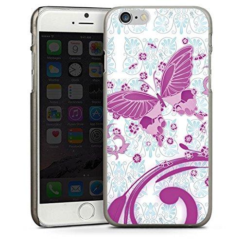 Apple iPhone 5s Housse étui coque protection Rose vif Papillon Papillon rose CasDur anthracite clair