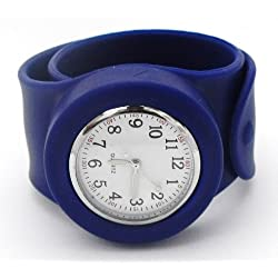 SNAP/SLAP ON SILICONE WATCH - FULLY NUMBERED MATTE FACE - DARK BLUE STRAP WITH WHITE FACE