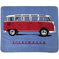 Producto oficial Diseño de caravana Volkswagen Loud Designs escarabajos manta para cama de matrimonio King Of The Road, 100% poliéster, azul, 130 x 150 cm