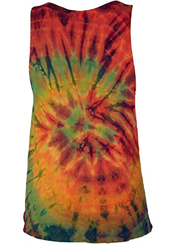 Guru-Shop Batik Hippie Top, Tank Top, Damen, Synthetisch, Size:40, Tops, T-Shirts, Shirts Alternative Bekleidung Orange/Bunt