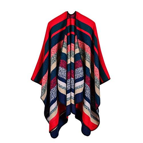 Honghu Cape Poncho Femme Tricot,Poncho Capes Châle Ouverture Extra Large écharpe Châle Poncho Automne Hiver Rouge