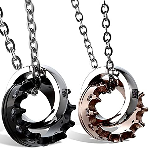 Oidea Bijoux Femme Homme Paire Acier Inoxydable Couronne Collier Zircon Anneau Bague Cadeau Couple Amoureux Couleur Noir Argent Rose