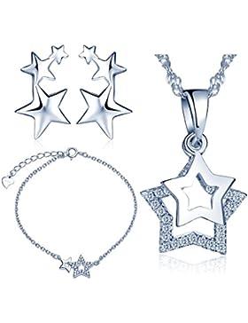 Yumilok 925 Sterling Silber Zirkonia Sterne Halskette Charm-Armband Ohrstecker Schmuck Set Armkette Ohrringe Kette...