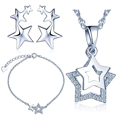 Yumilok 925 Sterling Silber Zirkonia Sterne Halskette Charm-Armband Ohrstecker Schmuck Set Armkette Ohrringe Kette mit Anhänger Set für Damen Mädchen