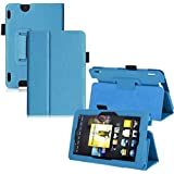 2012 Amazon Kindle Fire HDX 7 Inch TOOPOOT Leather Folio Stand Cover For (Sky Blue)