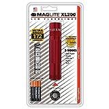 Mag-Lite LED Taschenlampe mit Endkappenschalter, 172 Lumen, nach ANSI Standard getest, 5 Betriebsmodi, rot XL200-S3036