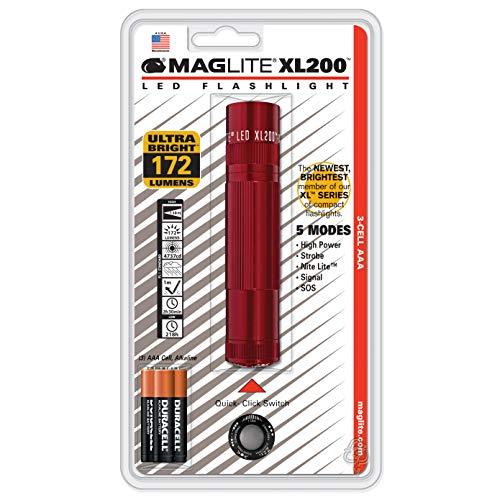 Mag-Lite LED Taschenlampe mit Endkappenschalter, 172 Lumen, nach ANSI Standard getest, 5 Betriebsmodi, rot XL200-S3036 Maglite O-ring