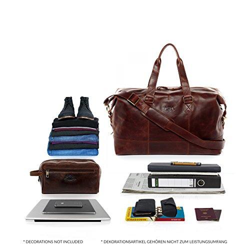 SID & VAIN Weekender Leder Yale groß Sporttasche Unisex 35l Reisetasche echte Ledertasche Damen Herren 50 cm braun