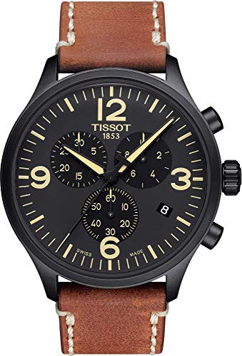 TISSOT Herren Chronograph Quarz Uhr mit Leder Armband T1166173605700