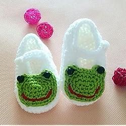 Happy Little Sheep - Calcetines de ganchillo para bebé recién nacido, sandalias para niños pequeños, color blanco