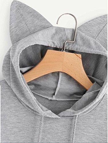 Donna Elegante Stampa Sportive Invernali Nero Tumblr Felpa Pullover Tops Maglie a Manica Lunga Cappuccio Gatto Felpe Con Grigio