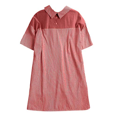 Vimoli Hemden der Frauen Button Up Pullover gestreiftes Top T-Shirt Plus Size Tunika Bluse(rot,L)
