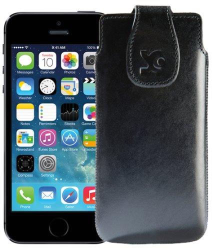 Suncase Étui en cuir pour Téléphone Portable–Apple iPhone se/iPhone 5S–Étui en cuir Étui de protection en cuir Coque de protection noir