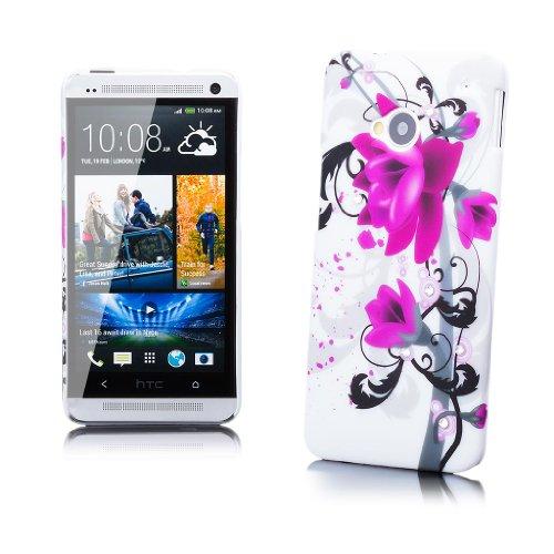 HTC One M7 | iCues Strass Blumen Case Lila Blume | [Display Schutzfolie Inklusive] Motiv Muster Strass Glitzer Glitter Luxus Bling Damen Frauen Mädchen Schutzhülle Hülle Cover Schutz