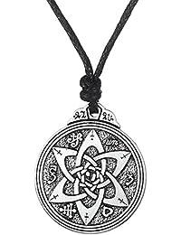 fishhook Attaches de type Wicca Talisman pour Poètes aux Auteurs et acteurs Pentacle Amulette runes double face Pendentif Collier