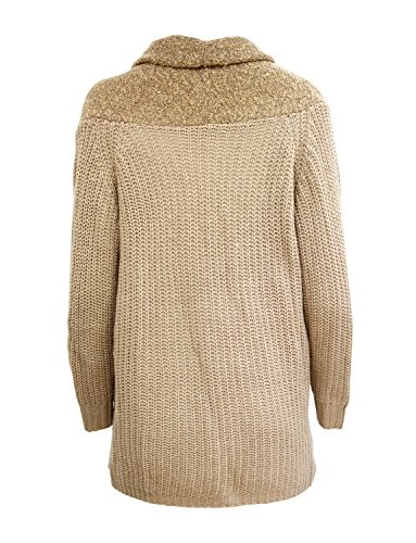Ma Coquette Pull over Cardigan tricot Gilet femme, avec poches devant gilet over Beige