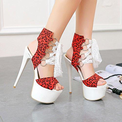 WYWQ Scarpe da partito da donna delle scarpe da partito delle donne Stiletto Scarpe a pompa Scarpe impermeabili della bocca di gomma della piattaforma Le scarpe di leopardo si increspano red