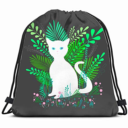cute white cat blue eyes sitting animals wildlife adorable parks outdoor Drawstring Backpack Gym Sack Lightweight Bag Water Resistant Gym Backpack for Women&Men for Sports,Travelling,Hiking,Camping,Sh -