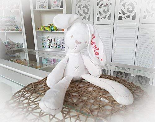 Stofftier Hase - mit NAMEN - Kuscheltier Baby Kinder Geschenk personalisiert mit Wunschnamen - Taufe, Geburt (Rosa, Pink, Sterne) (Personalisierte Stofftiere Für Babys)