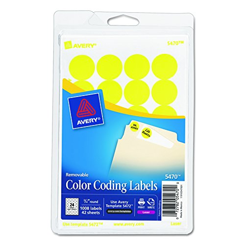 "Removable Labels, 3/4"" Round, 1008/PK, Yellow Neon, Sold as 1 Package"