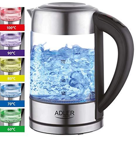 Glas Wasserkocher Edelstahl mit Temperaturwahl | Teekocher | 100% BPA FREI |  Warmhaltefunktion | LED Beleuchtung im Farbwechsel | Temperatureinstellung (60°C-100°C) | Glaswasserkocher | 1,7 Liter