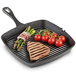 VonShef Black cast-iron grill pan already burned in - 26 cm