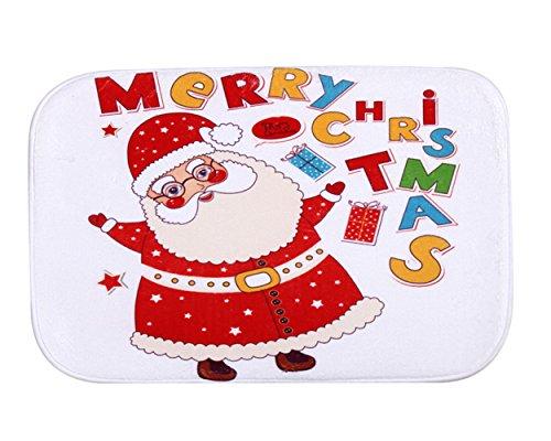 iHome Fußmatte Weihnachten, Korallen Samt, 40cm x 60cm, Fetter Weihnachtsmann Santa Claus Merry Christmas (Weiß)