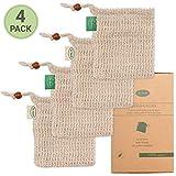 Io Nova 4x Sisal Seifensäckchen | zweifarbige Baumwoll-Labels | natürliches Körper-Peeling