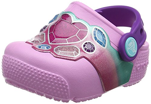 Crocs Fun Lab Lights Clog Kids, Unisex - Kinder Clogs, Mehrfarbig (Gems/Carnation), 25/26 EU