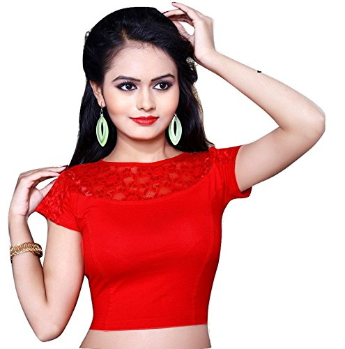 Pdezaart Women'S Saree Blouse (Pd-B- 516-R-M_Red_Free Size)