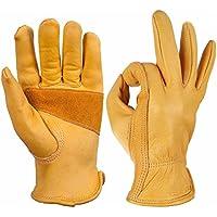 Guantes de trabajo de piel de vaca para jardinería, excavación, plantación, guantes de trabajo con flores, guantes protectores de seguridad, antideslizantes ...
