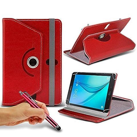 N4U En ligne - Rouge Tablette Luxury 360° Rotatif Porte-feuille en Cuir PU Tige Ressort Etui De Revêtement & Stylet Ecran Tactile Pour Asus ZenPad 10 Tablette