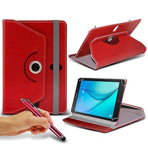 """N4U ONLINE - rot Tablette 360°rotierend PU Leder Etui Feder Ständer Schutzhülle & Touchscreen Eingabestift für Medion 8 \"""" HD Lifetab P8311 Tablette"""