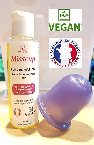 MISSCUP ventouse amincissante et son huile anti-cellulite 100% français, VEGAN et BIO
