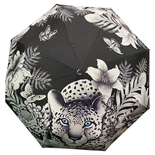 Anuschka Regenschirm, automatisches Öffnen/Schließen, UPF 50+, max. Sonnenschutz, 96,5 cm wasserdicht, passt in Handtasche, winddicht, flexibles Fiberglas, Kleopatra's Leopard -