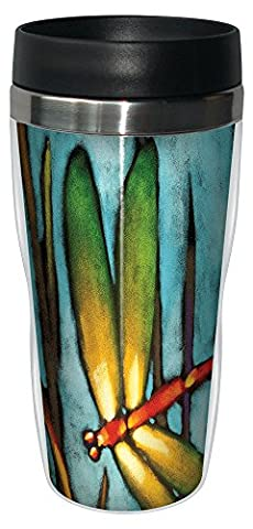 Tree-Free Greetings 77018 16 oz Stainless Steel Beautiful Dragonfly Collectible Art Sip 'N Go Travel Tumbler