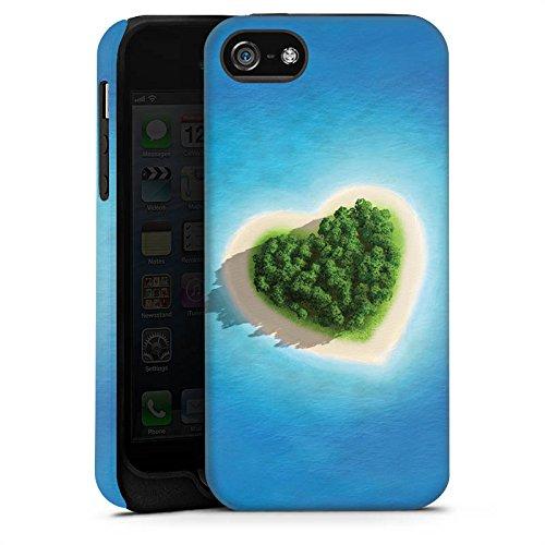 Apple iPhone X Silikon Hülle Case Schutzhülle Love Insel Muster Herz Tough Case matt