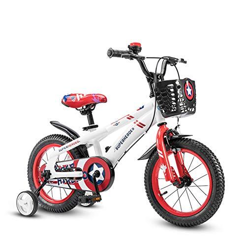 1-1 Kinder Fahrrad, Jungs Mädchen Draussen Reiten Kinder Spielzeug Verstellbare Höhe Doppelbremse Rutschfest Sicherheit,16IN