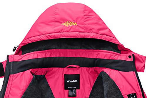 Wantdo Damen Wanderjacke Wasserdicht Winddicht Regenjacke Outdoorjacke mit Fleecefutter Rosa