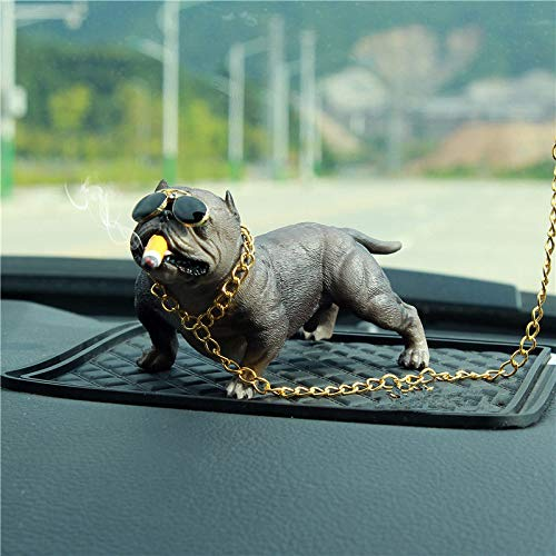 Fangqi Dekoration Auto Pitbull Hund Dekoration Kreative Persönlichkeit Auto Interior Fashion Simulation Hund Puppe Innenausstattung Kaffee