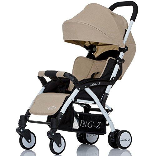 Poussette XUERUI Chariot Pliant Confortable Belle Confort Sécurité 5 Couleurs (Couleur : Beige)