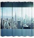 Abakuhaus Duschvorhang, Vogelperspektive Einer Großen Gedrängten Modernen Stadt Büro New York Buildings Urban Theme, Blickdicht aus Stoff inkl. 12 Ringe für Das Badezimmer Waschbar, 175 X 200 cm