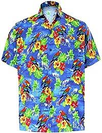 70b558222e103 LA LEELA Men s Hawaiian Beach Stag Shirt Button Down Spread Collar Short  Sleeves Front Pocket Aloha