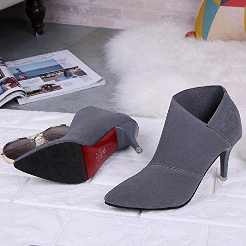 semplice sottile con Grigio delle Scarpe Longra tacco di colore alti solido donne qwgqX4xEI
