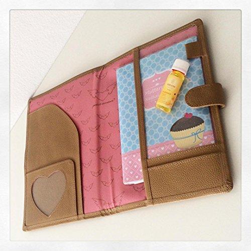Petit Amour ♥ Mutterpasshülle Etui Case Organizer LEONA ♥ Fächer für Bilder Karten Pässe Dokumente ♥ Leder beige - 3