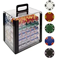 Trademark 1000 14g Tri Color Ace/King Clay Poker Chips with Acrylic Case (Clear)