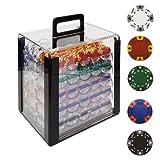 Trademark 100014g Tri Couleur Ace/King Argile jetons de Poker avec boîtier en Acrylique (Transparent)